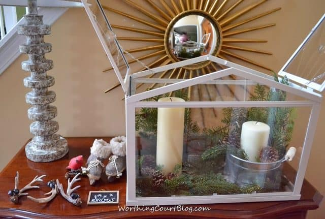 Worthing Court: Add more faux greenery, if needed to the terrarium vignette after placing the large elements.