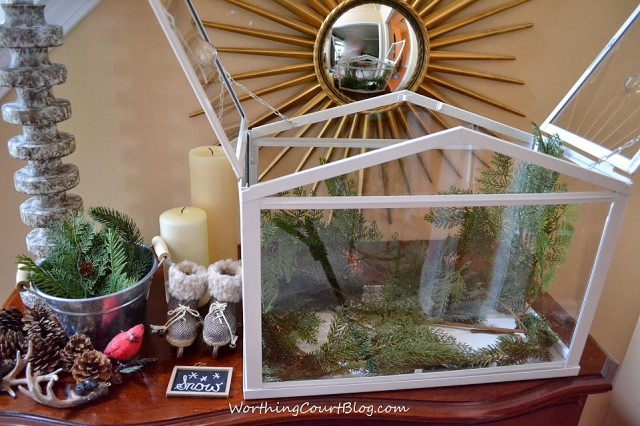 Worthing Court: Faux greenery placed in the terrarium to create a background