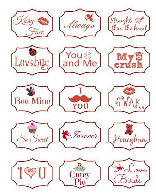 Free printout of mini Valentine messages