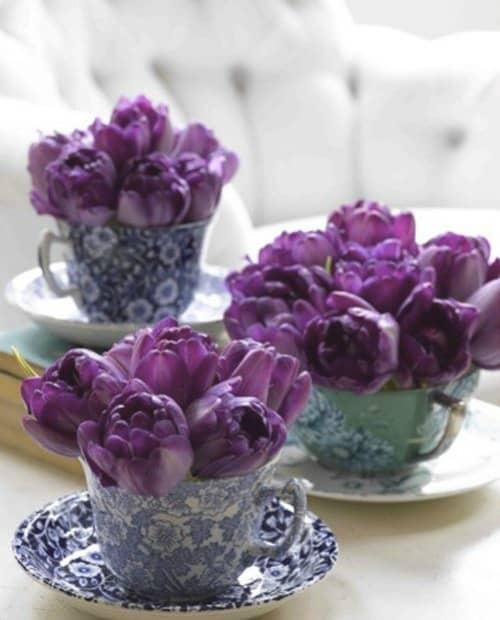 Use a grouping of teacups for to display spring flowers.