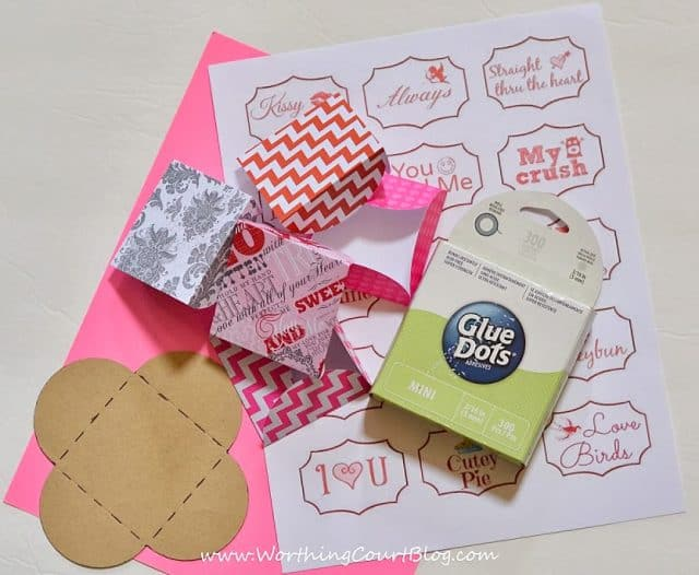 Supplies needed for making mini Valentine cards.
