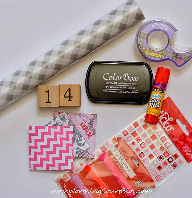 Supplies needed to make a countdown to Valentine's calendar