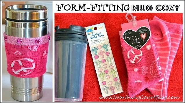 Super easy and cheap cup cozy for a shapely mug