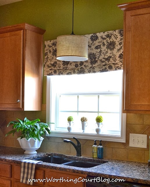 Farmhouse Kitchen Touches And A DIY Faux Roman Shade