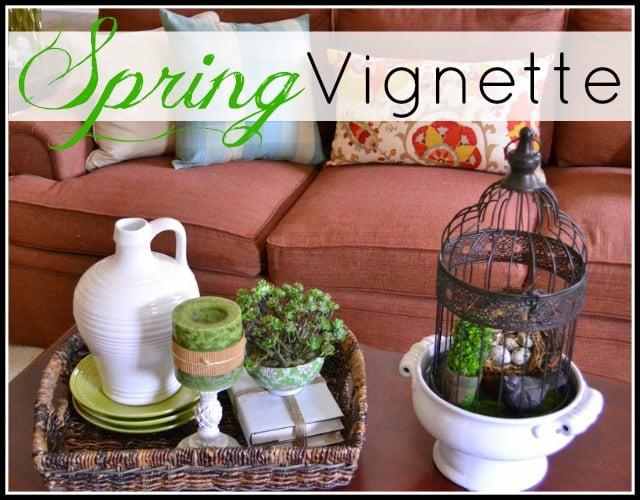 Spring Coffee Table Vignette - WorthingCourtBlog