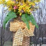A Spring Door Basket For A Wreath