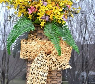 A Spring Door Basket For A Wreath