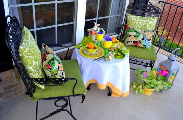 An outdoor spring tablescape