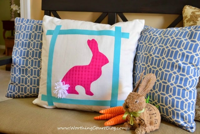 Easter idea - make a no-sew bunny silhouette pillow using the reverse side of an existing pillow. When Easter is over, simply turn the pillow around to use the other side!