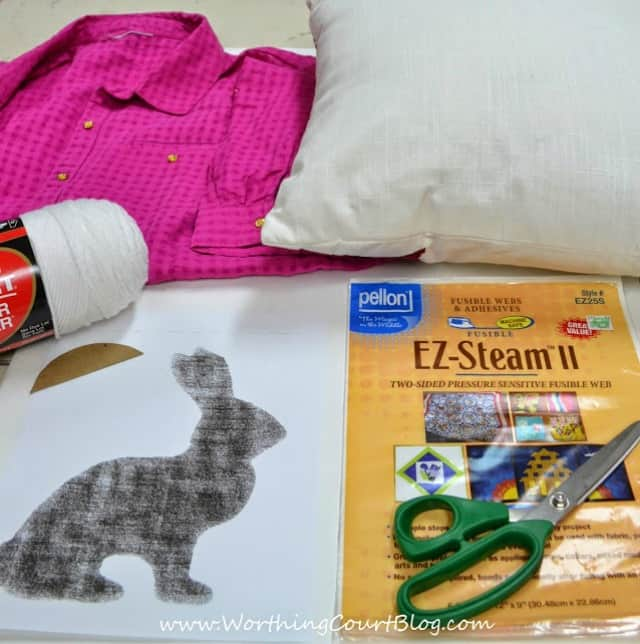 Supplies needed to make a no-sew Easter bunny pillow :: WorthingCourtBlog.com