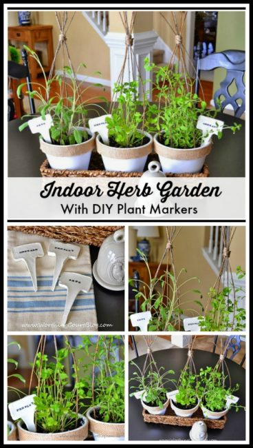 An indoor herb garden using inexpensive clay pots, diy twig plant cages and how to make plant markers :: WorthingCourtBlog.com