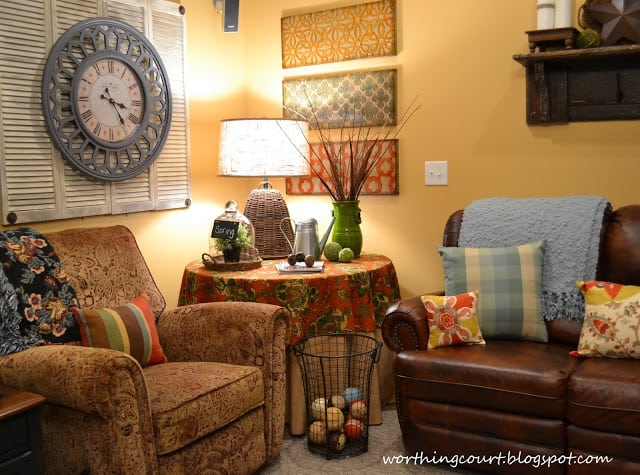 Basement Family Room - mixing unexpected colors and patterns together :: WorthingCourtBlog.com