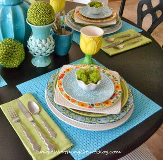 Blue And Green Spring Tablescape