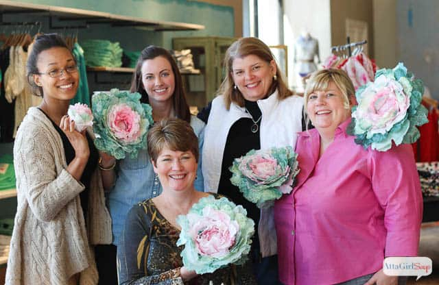 Group pic of coffee filter cabbage class at Anthropologie