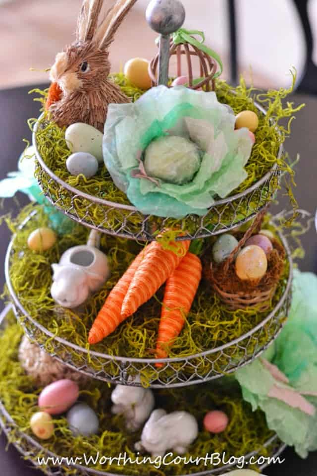 Easter centerpiece with a fun craft - DIY cabbages made from coffee filters : WorthingCourtBlog.com