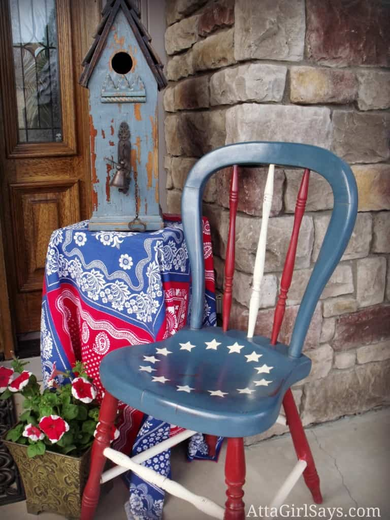 Patriotic painted chair