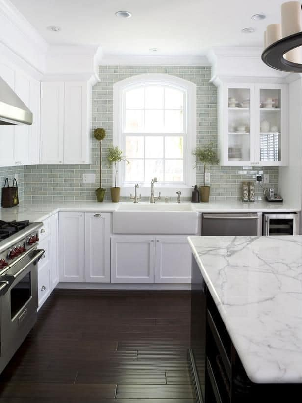 Visually extend the height of shorter cabinets by adding a soffit that goes up to the ceiling