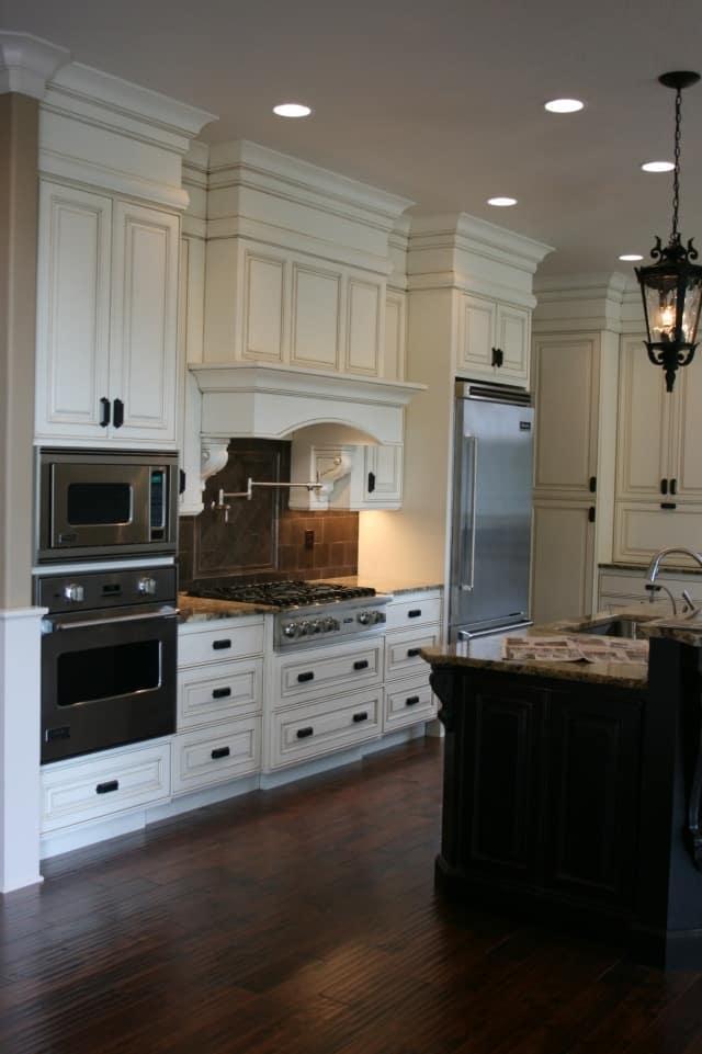 wall ovens and hood on the same wall