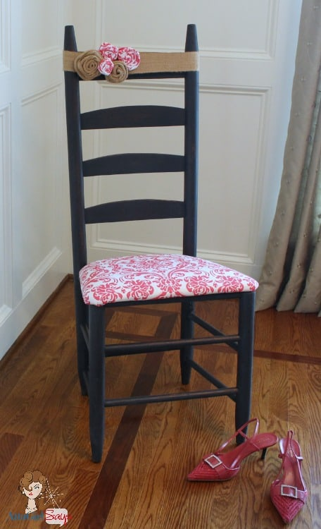 No-sew upholstered chair with fabric rosettes