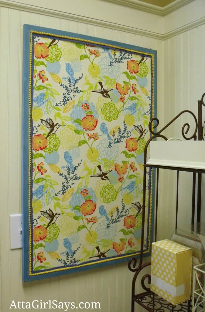 No-sew fabric covered bulletin board