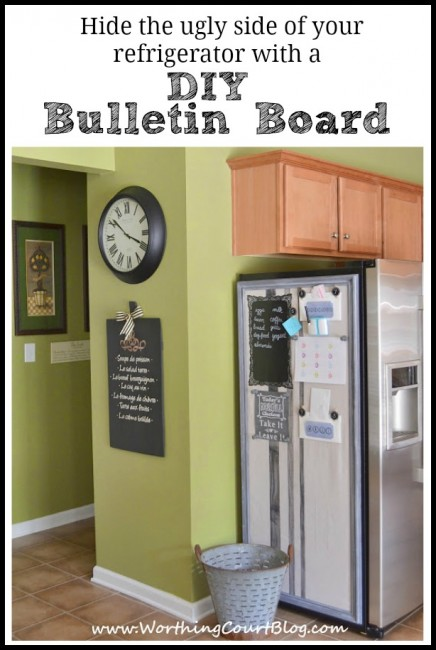 How to make a bulletin board that hides the ugly side of your refrigerator