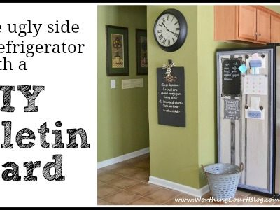 How to hide the ugly side of a refrigerator with a diy bulletin board