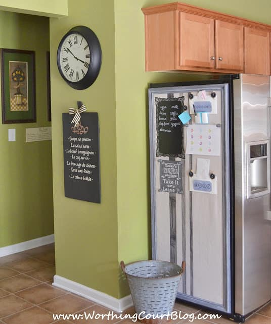 How to make a bulletin board to hide the side of a refrigerator