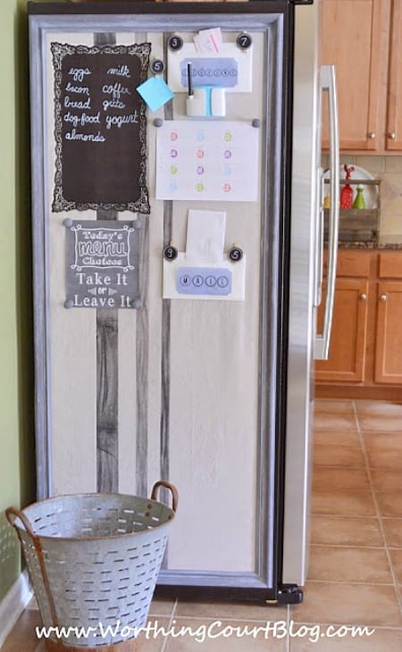 How to make a bulletin board that does double duty by also hiding the side of the refrigerator.