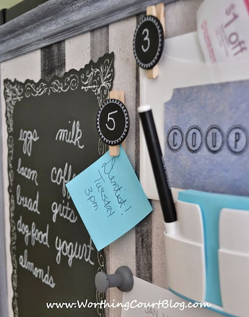 DIY bulletin board for the side of a refrigerator