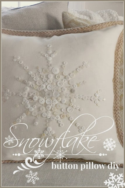 No-sew snowflake button pillow