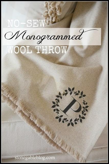 No-sew monogrammed throw