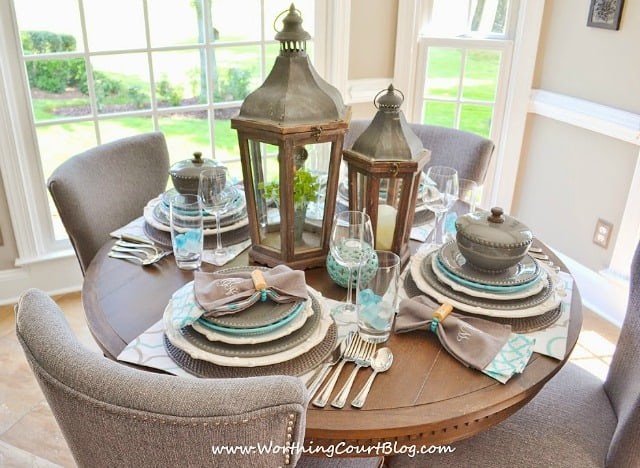 Beautiful and casual turquoise and gray table setting on a round table & Beautiful And Casual Round Table Setting | Worthing Court