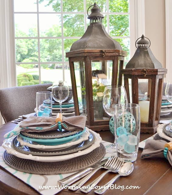 Beautiful and casual turquoise and gray table setting