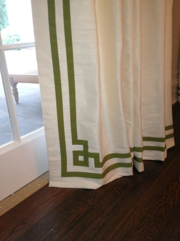 Use ribbon to create a classic Greek Key design that will never go out of style on drapery panels :: worthingcourtblog.com