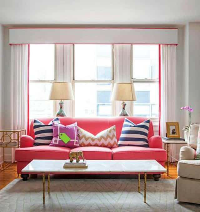 The ribbon on the cornice and draperies help to perfectly frame the view and define the space :: WorthingCourtBlog.com