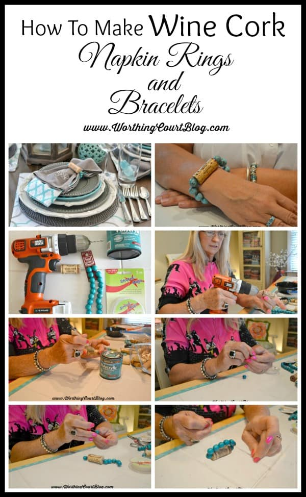 How to make wine cork napkin rings and bracelets poster.