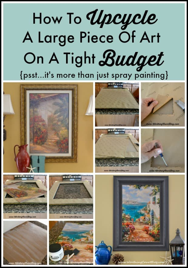 How to upcycle a large piece of art on a budget. There's more to it than just spray painting, but it's sooo easy.