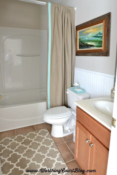 A neutral and aqua small bathroom :: worthingcourtblog.com