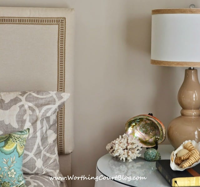 Bedroom decorating ideas - diy dropcloth headboard embellished with decorator trim