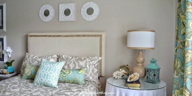 Bedroom decorating ideas - Neutral and aqua bedroom with a diy dropcloth covered headboard