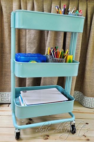 Portable homework organizer cart