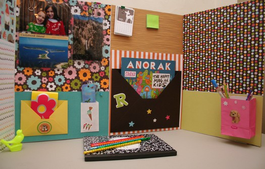 Make a homework station with a plain tri-fold board from the craft store