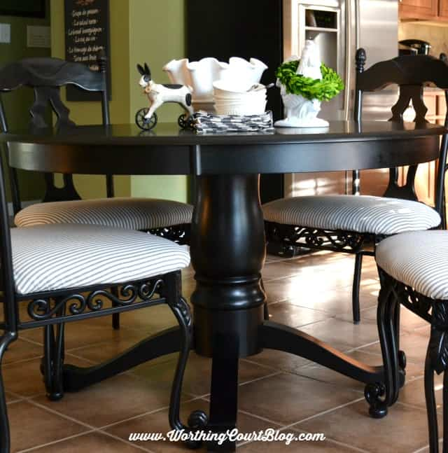 Transform kitchen chairs with spray paint and a little fabric 48 round black farmhouse style pedestal table worthingcourtblog watchthetrailerfo