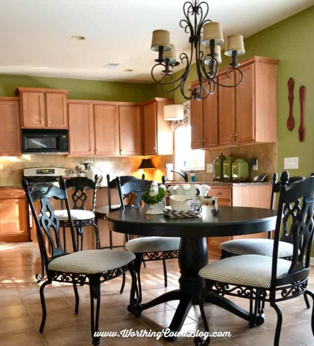 Painted Black Kitchen transform kitchen chairs with spray paint {and a little fabric