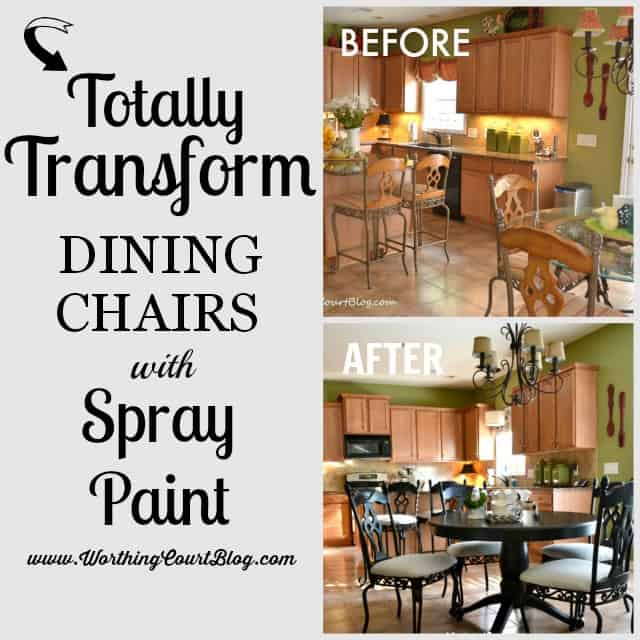 Totally transform kitchen chairs with spray paint! || WorthingCourtBlog.com