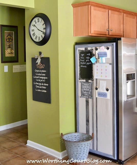 How to make a bulletin board to hide the ugly side of a refrigerator || WorthingCourtBlog.com