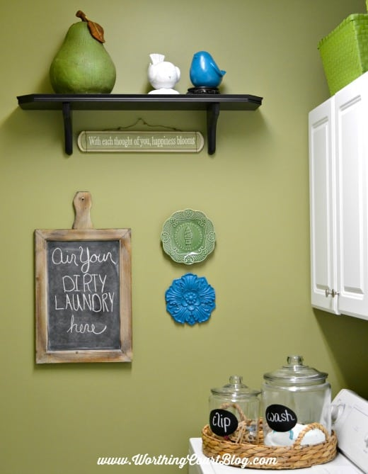 Use a tray in the laundry room to hold jars of detergent || WorthingCourtBlog.com