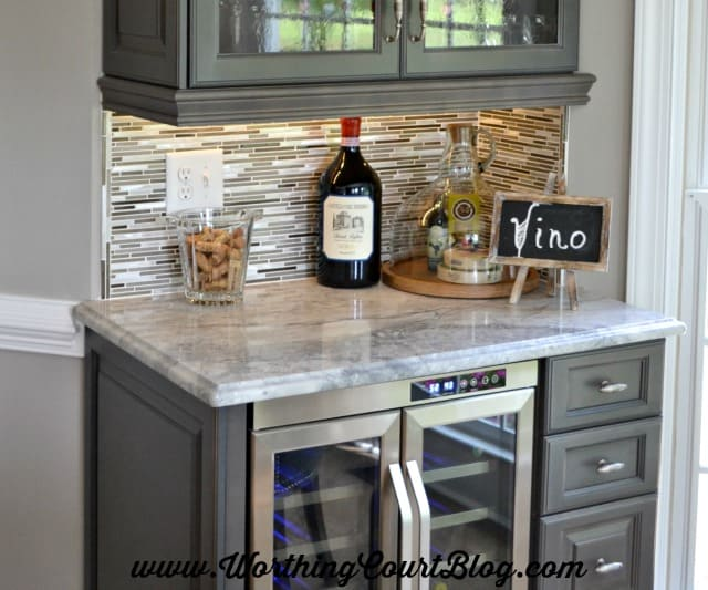 Glass Tile With A Little Bit Of Bling Brings A Wine Bar Area To Life