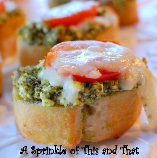 Recipe for Pesto and Goat Cheese Crostini appetizer