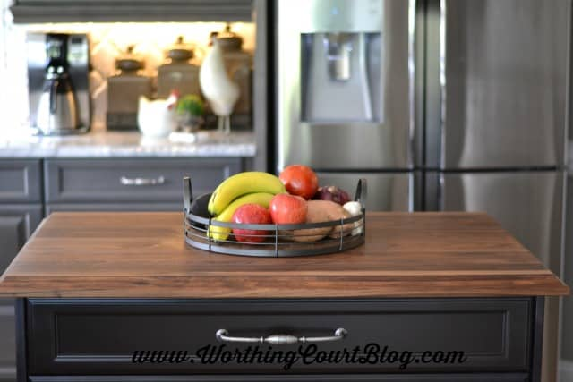 Dark stained butcher block for the top of a kitchen island